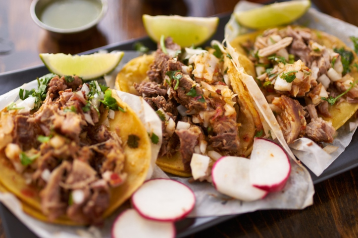 mexican street tacos with chicken, carnitas and barbacoa
