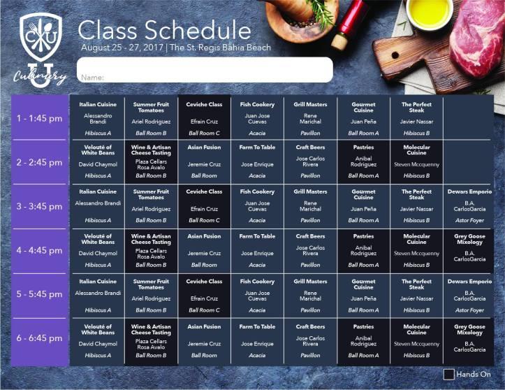 Culinary U Itinerario Sabado, 26 agosto